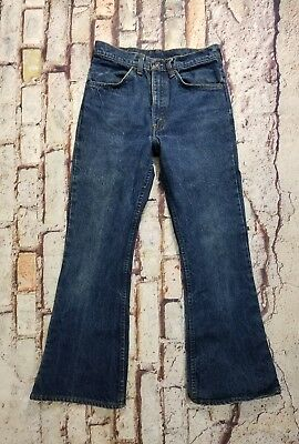 Vintage 70's Levi's SF 207 Orange Tab High Waist Flare Womens Denim Jeans 28x27