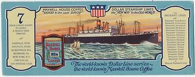 Blotter Maxwell House Coffee Dollar Steamship Lines