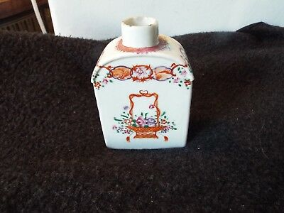 Antique 18th Century Chinese Export Porcelain Tea Caddy Famille Rose floral