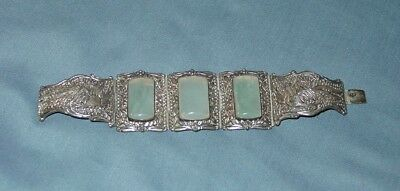Beautiful Antique Chinese Silver & Jade Panel Bracelet Rooster Design China