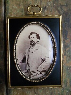 1800's Antique Metal Convex Glass Black & Gold Frame Photo Picture Of A Man