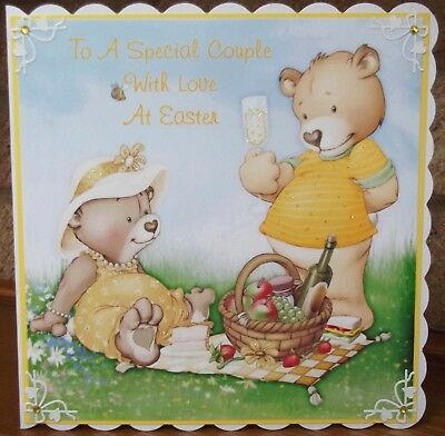 Handmade personalised happy easter couple card a cute yellow teddy bears picnic