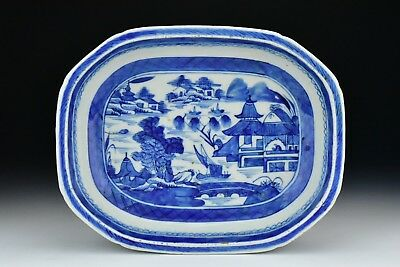Antique Chinese Export Canton Porcelain Oval Serving Dish 19th Century
