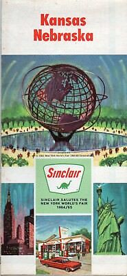 1964 Sinclair Kansas Nebraska Road Map Wichita Omaha Topeka Lincoln Salina