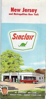 1962 Sinclair New Jersey Road Map Trenton Atlantic City Newark Camden Elizabeth