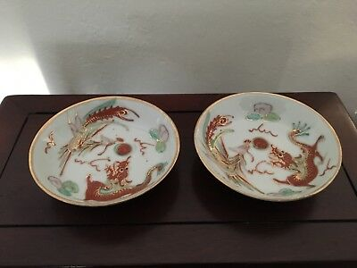 Two Antique Chinese Porcelain Dragon Saucers