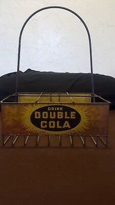 Rare Vintage 1940's Double Cola Soda Pop 6 Bottle Metal Carrier Caddy Sign