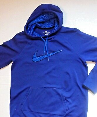 NIKE THERMA-FIT Boys Size L Blue Fleece Lined Hoodie Sweatshirt