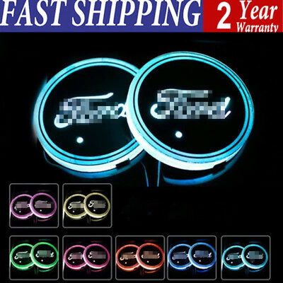 2 x Colorful LED Car Cup Holder Pad Mat for Ford Auto Interior Atmosphere Lights