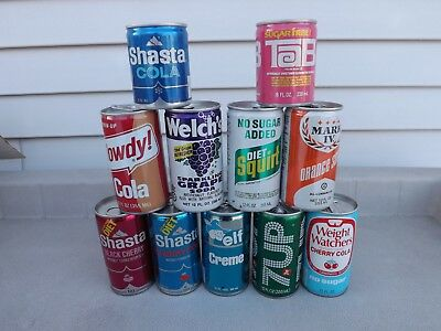 Vintage Soda Can Lot Of 11 Cans