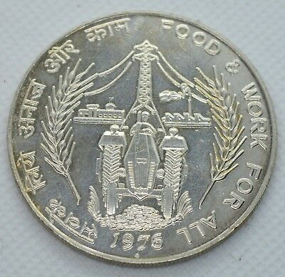 India 50 Rupees 1976 Food And Work For All Huge Silver Coin