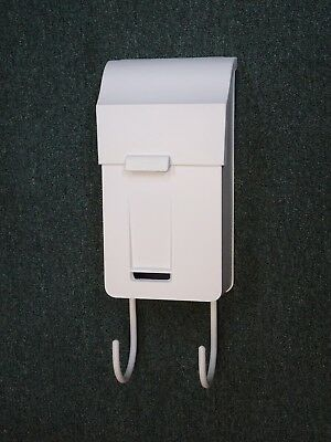 Vintage Cast Aluminum Wall Mount Mailbox and paper hooks - Nice Narrow Mail Box