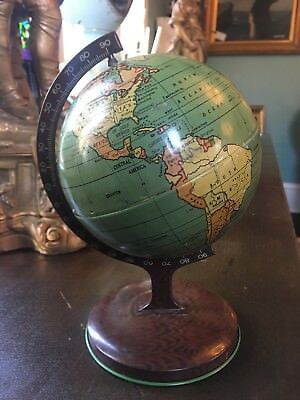 RARE Antique Vintage Metal Tin Toy Globe on Stand J. Chen & Co Late 1920s