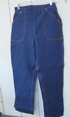 "Vintage 1960's Women's Blue Denim Side Zipper Jeans Sz 27""wx 31""l Made By Misses"