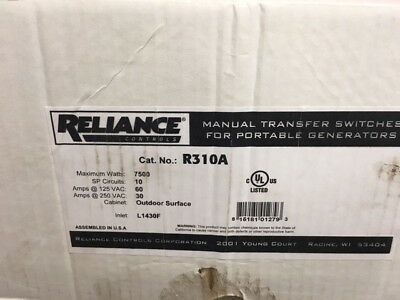 Reliance Controls 30 Amp 10-Circuit Manual Transfer Switch