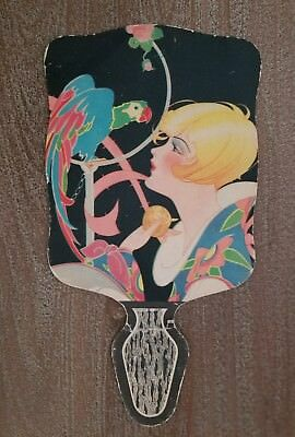 Vintage Litho USA Art Deco Fan RARE