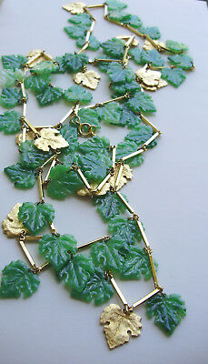 VERY UNIQUE & LENGTHY GOLD TONE NECKLACE w/GOLD TONE & GREEN GLASS  LEAVES-56""
