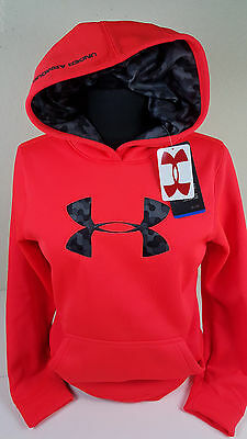 Nwt Under Armour Boys Youth Orange Camo Logo Coldgear Hoodie Sweatshirt Sz Ysm S
