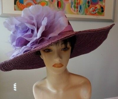 Beautiful Giovannio Extra Wide Brim Summer Ladies Hat W/ Extra Large Flower