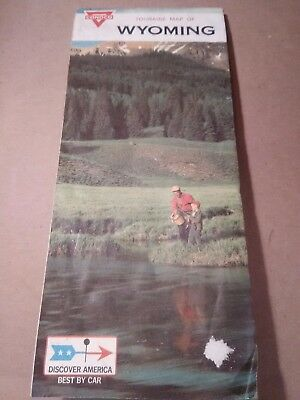 Vtg 1968 Conoco Touraide Wyoming Highway Map -Discover America Best By Car -