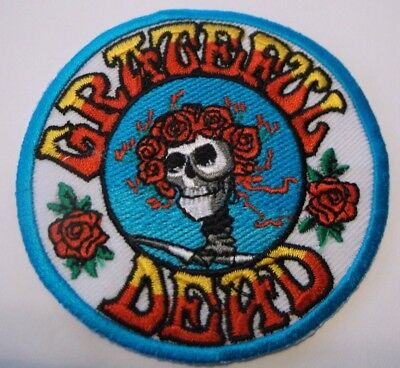 """Grateful Dead Skull Flowers~Embroidered Applique Patch~3 3/8"""" Round~Iron~Sew"""