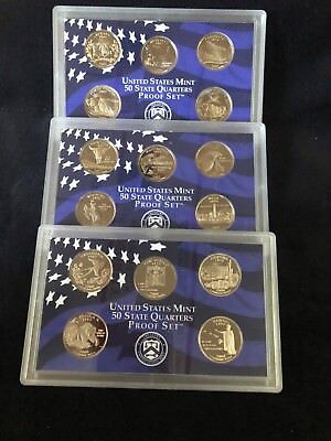Lot of 3 State Quarters US Mint Proof Sets 2006-S 2007-S 2008-S No Box or Coa