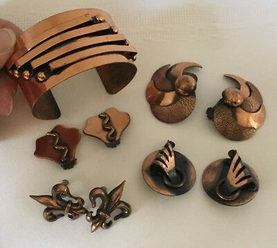 Lot of 5 Vintage Copper Jewelry Mid Century Modernist Earrings Cuff Bracelet