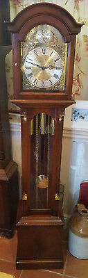 Mahogany Westminster Chiming Grandmother Clock by Stewart Armagh Del. arranged