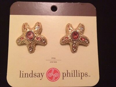 Cute Lindsey Phillips Clear And  Pink Stones Starfish Shoe Snaps - 3490