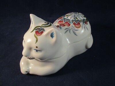 Elizabeth Arden Imari Design Relaxed Cat Porcelain Trinket Box Made In Japan GUC