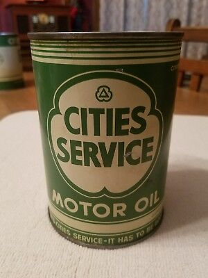 Nice Orig. 1 Quart Cities Service Tin Oil Can, Gas Station, Gas Globe, Gas Pump