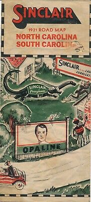 1931 Sinclair Automobile Map of South Carolina (SC) and North Carolina (NC)