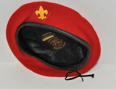 Vintage Boy Scout Red Wool Beret Official BSA Hat Size Large 7-1/8 -7-1/4