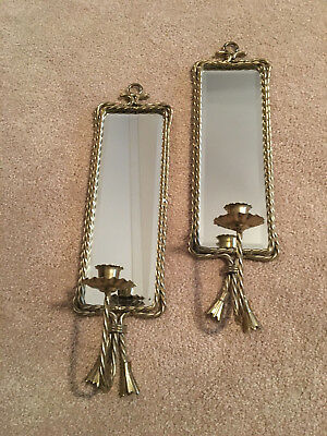 Pair of Vintage Wall Mount Candle Sconces, Brass Rope & Tassels, Beveled Mirrors