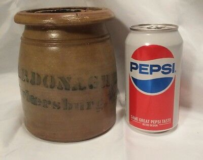 RARE ANTIQUE A.P. DONAGHHO PARKERSBURG West Virginia Stoneware Jar Crock 5 1/2""