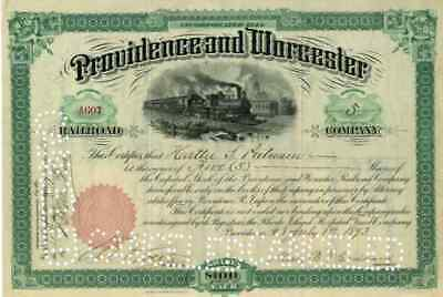 1893 Providence & Worcester RR Stock Certificate