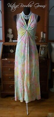 Vintage Claire Sandra Lucie Ann Nightgown Dress Psychedelic Flower Art Key Hole