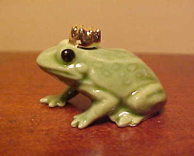 Hagen-Renaker Mini #344 FROG PRINCE - Miniature Ceramic Bullfrog Papa with Crown
