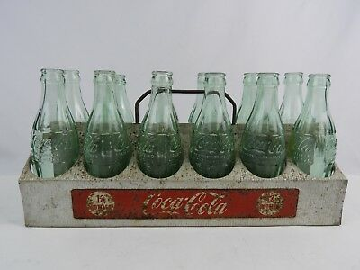 Vintage 1950's Metal Coca-Cola 12 -Pack bottle carrier w/ 12 bottles fair cond.