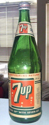 """Rare 7 Up Quart 28 oz paper label Bottle """"You like it and It likes You """"  Nice """""""