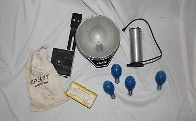vintage kalart flash 400 B-c flash unit and bracket and bulbs