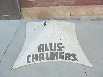 vintage canvas tractor folding umbrella allis chalmers wire frame rough  holes
