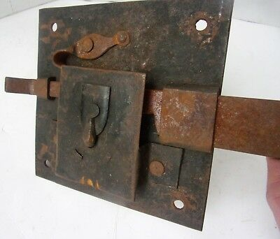Antique 18th C Iron metal Lock Sliding Bolt Barn Chest Old Hand Forged Iron Lock