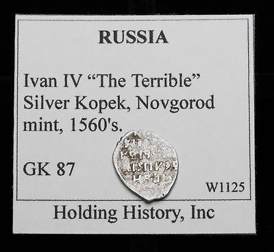 """RUSSIA. Ivan IV """"The Terrible"""", Hammered Silver Kopek, Wire Money, G&K 87"""