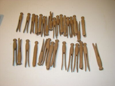 Vintage Lot Wood Round Head Clothespins Laundry Hangers Craft 5 Inches