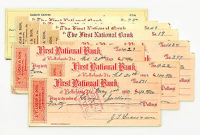 10 mixed Pennsylvania USA bank checks late 1800's- 1900's nice used