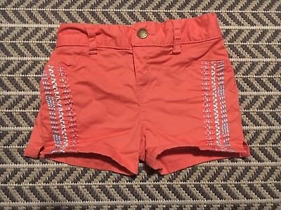 Girls Lucky Brand Shorts Size 4T Coral Embroidered Details.