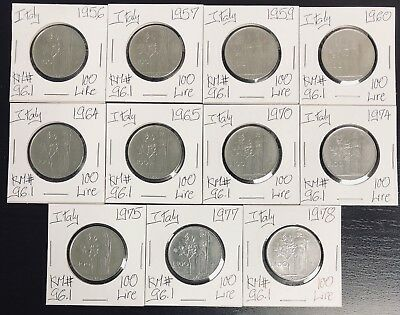 Italy Lot of 11 Difference Coins 100 Lire 1956-1978 KM# 96.1 ( #C204)