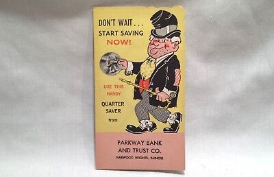 Vintage Unused Quarter Coin Saver Folder Hobo Clown Parkway Bank Trust Banthrico
