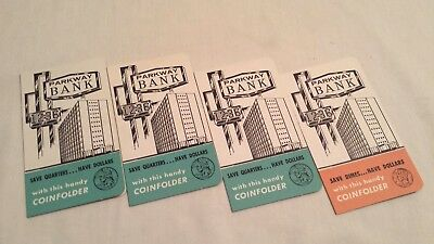 4 Vintage Dime & Quarter Coin Savers Parkway Bank Banthrico Folder